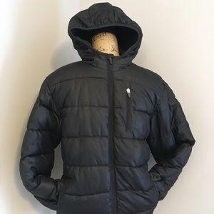 Old Navy Hooded Puffer Coat in Black Large 10-12